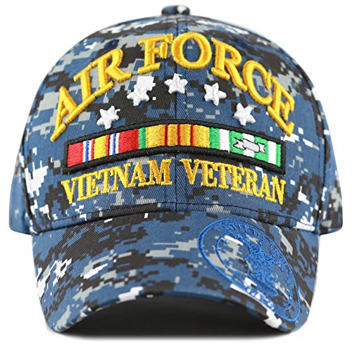 THE HAT DEPOT 1100 Official Licensed 3D Vietnam Veteran Ribbon Logo Cap (Blue Digital Camo-Air (Air Force Logo Cap)