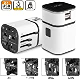 Universal Travel Plug Adapter, Universal Charger International Power Adapter All-in-One Universal International Plug Adapter World Travel Converter 2 USB Ports(White)