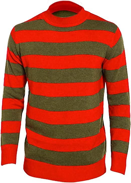 Boys Kids Red /& Green Stripe Knitted Jumper Freddy Style Halloween Fancy Dress