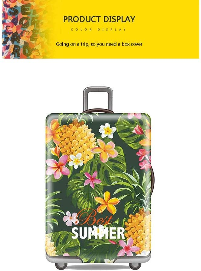 Trolley case Suitcase Cover Its Cost-Effective Waterproof Wear-Resistant Non-Slip Four Seasons Available Spandex Suitcase Protector Fits 24-42 Inch Elastic Stretchy/—Tropical Size : S