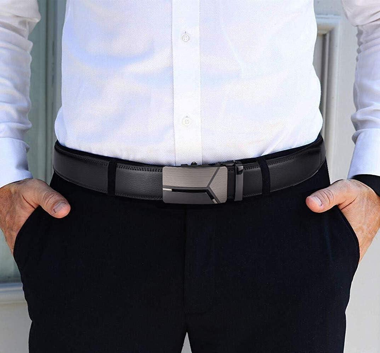 MOZETO Mens Belt Ratchet Leather Dress Belt for Men Adjustable Belt with Slide Automatic Buckle in Gift Box