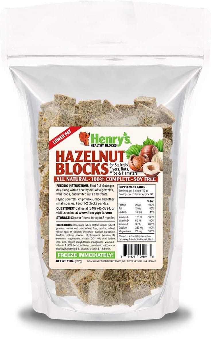 Henry's Hazelnut Blocks - The Only Food for Squirrels, Flyers, Rats and Mice Baked Fresh to Order (11 oz)