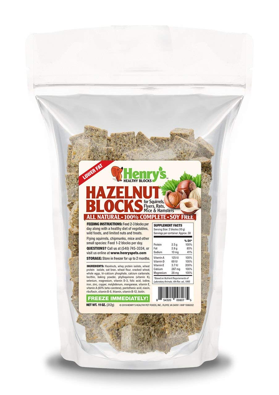 Henry's Hazelnut Blocks - The Only Food for Squirrels, Flyers, Rats and Mice Baked Fresh to Order, 11 Ounces by Henry's Healthy Pet Foods, Inc
