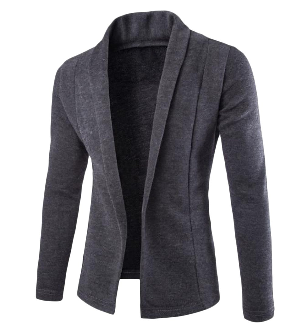 Sheng Xi Men's Simple Open Front Two Toned Cardigan Knitted Sweater