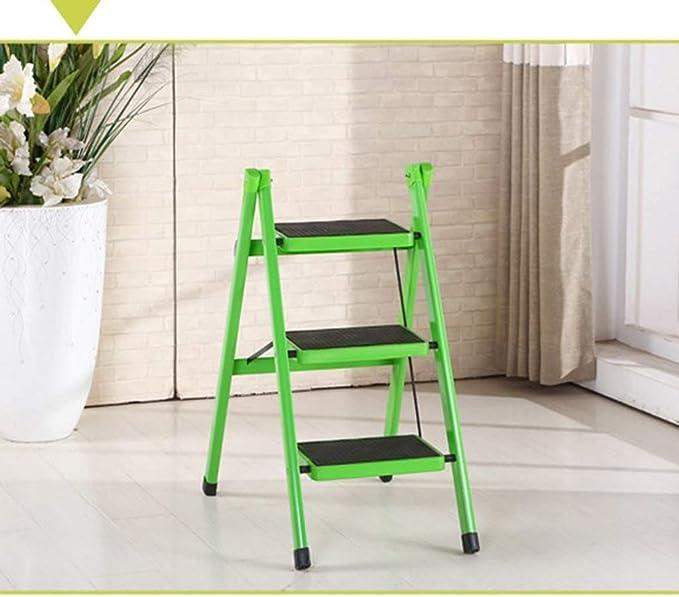 HZPXSB Escalera de Tijera Plegable de Color Verde liviano con empuñadura Antideslizante Escalera de Acero Robusta y de Pedales Anchos Mini Taburete de 3 Pasos Almacenamiento fácil 300lbs.: Amazon.es: Hogar