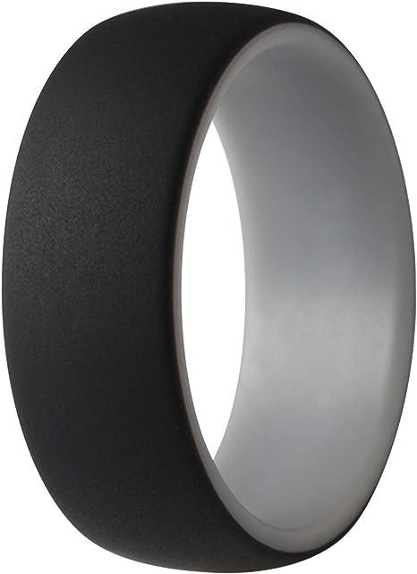 23.82mm ThunderFit Silicone Wedding Rings for Men Black, Dark Grey, Navy Blue, Dark Red, 14.5-15 4 Rings
