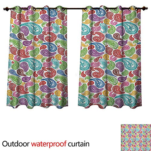 WilliamsDecor Paisley Outdoor Curtain for Patio Modern Teardrop Shaped Striped Oriental Pattern with Flowers and Leaves Art W72 x L72(183cm x 183cm)