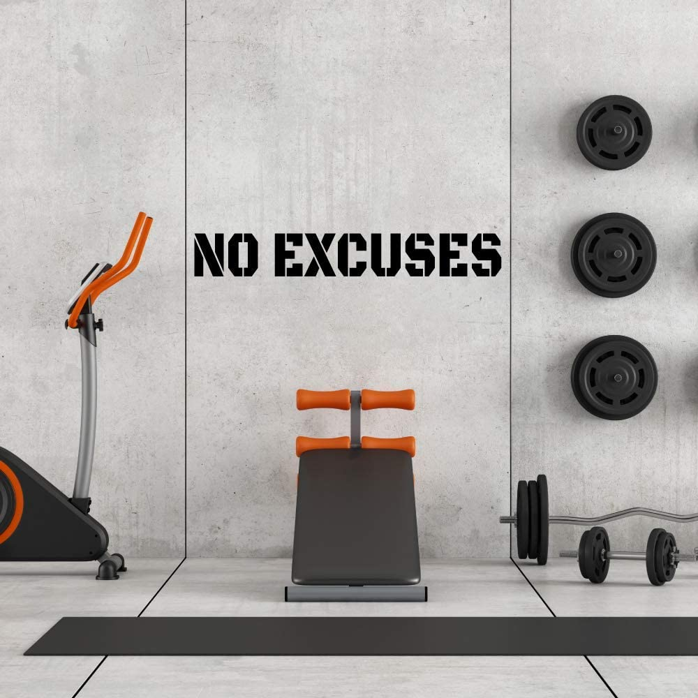 Extra Large Gym Wall Decal | No Excuses Inspirational Wall Sticker Quote | 4 Feet Long | Huge Art Decoration | Big Vinyl Lettering Motivation for The Home Gym | Workout Fitness Exercise Sign (Black)