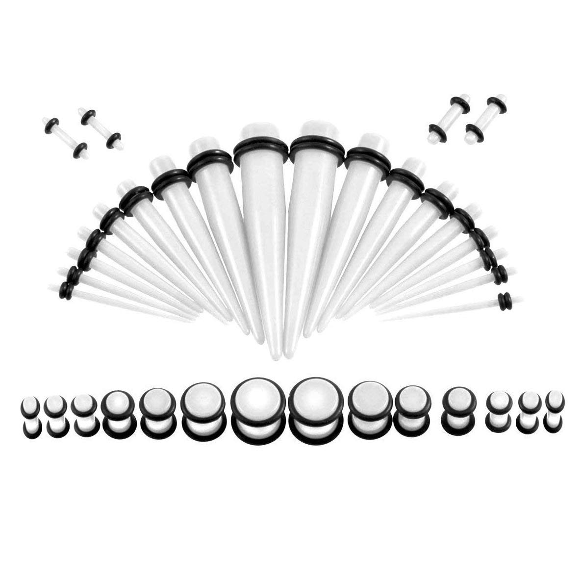 HQLA 36PC Gauges Kit Acrylic Taper Plug 14G-00G Ear Stretching Set Double O-Rings Piercing Jewelry