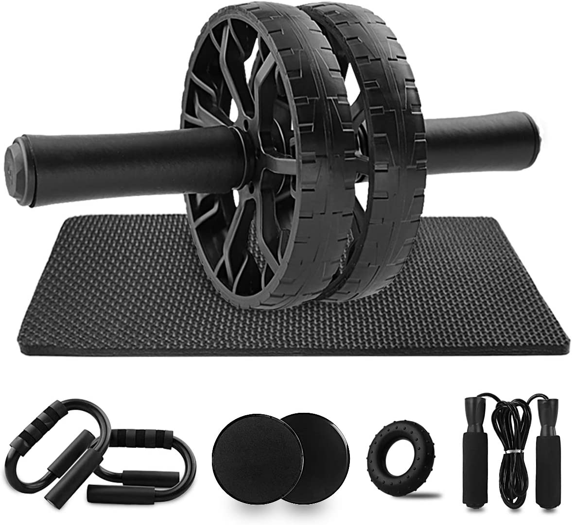 Heunwa Abs Workout Equipment, 6-in-1 Ab Wheel Roller Kit with Knee Pad, Push-Up Bars, Core Sliders, Jump Rope and Hand Strengthener Grip Ring, Home Gym Exercise Equipment for Men & Women