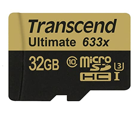 Transcend Ultimate 633x - Tarjeta de Memoria de 32 GB (UHS-I, Clase 10, 95 MB/s, con Adaptador)