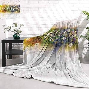 Stevenhome Sofa Portable Car Travel Blanket FlowerRomance Flowers Bouquet Super Soft Cozy Luxury Bed Blanket W80 x L70 inch