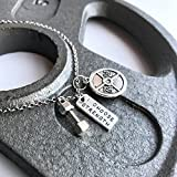 """Titanium Never Tarnish Workout Necklace by Lolly Llama - Trendy Weightlifting Jewelry Necklace with """"I Choose Strength"""" Charm offers"""