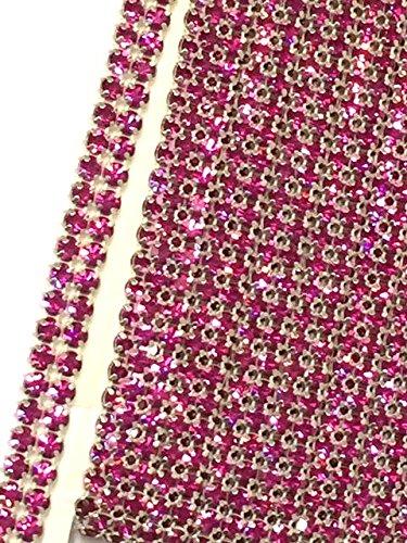 2 ROW Fuchsia Hot Pink Rhinestone Cake Ribbon Banding Trim Decoration 3/8