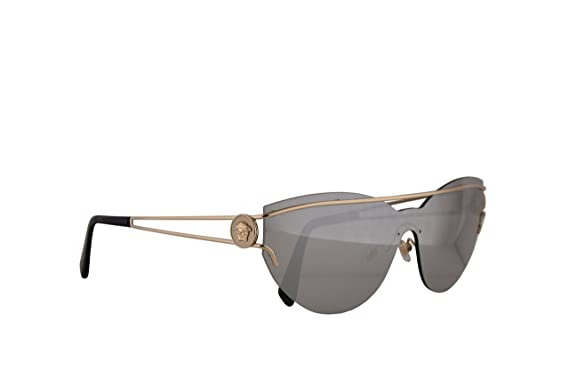 57ce3a4dd76b Image Unavailable. Image not available for. Color  Versace VE2186  Sunglasses Pale Gold w Light Grey Mirror Silver Lens ...