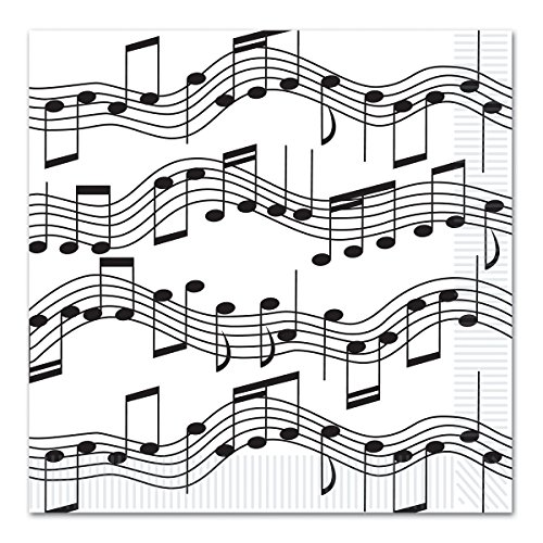 Club Pack of 192 Black and White Musical Notes Disposable 2-Ply Beverage Napkins