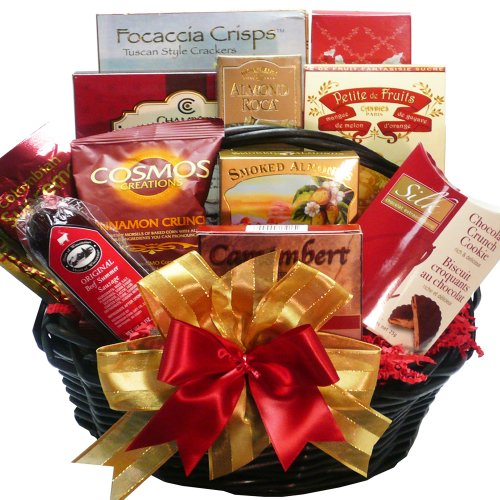 Happy Times Gourmet Food and Snacks Gift Basket - Cheese, Sausage, Crackers