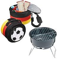 Grill-Set schwarz klein Grill Zusammenstellung Camping Balkon Picknick Grill-Set ✔ rund ✔ tragbar ✔ Grillen mit Holzkohle