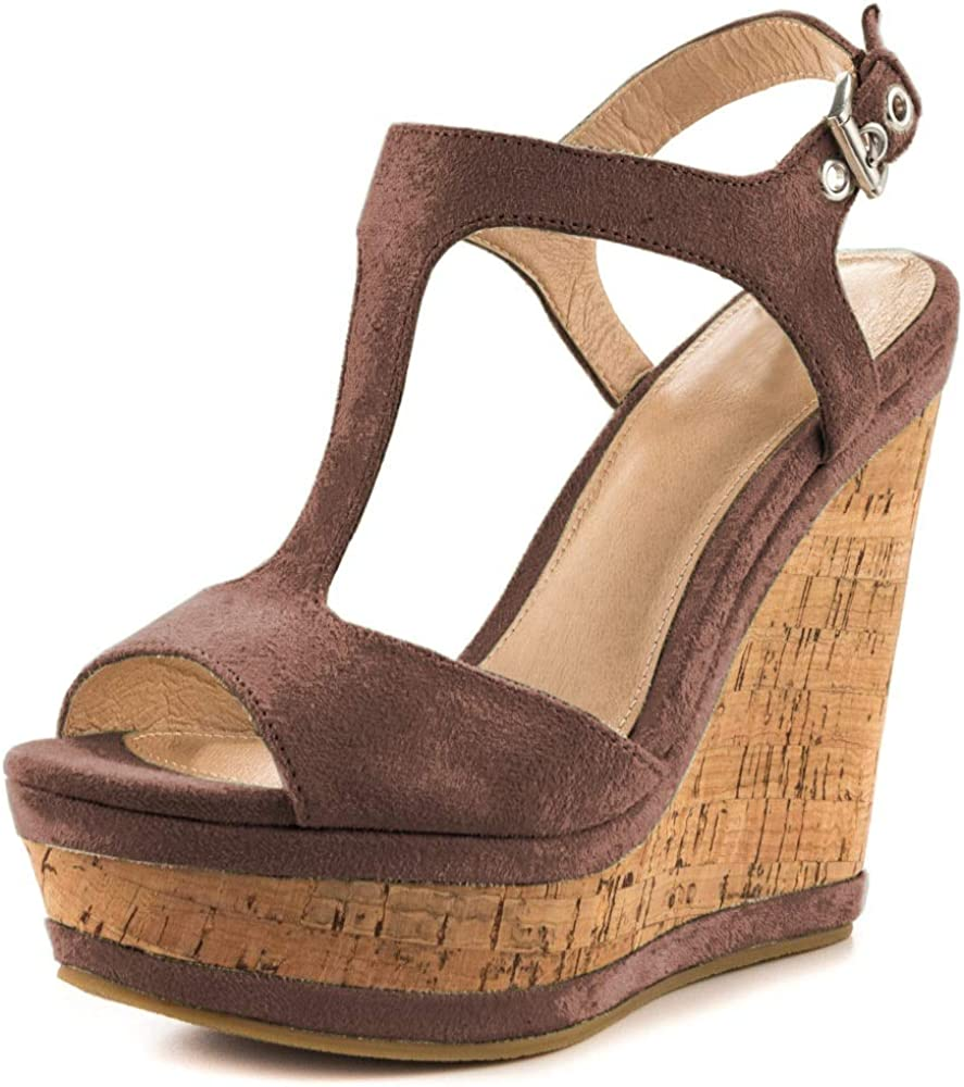 Cheap At the price JOY IN LOVE Women's Wedges Buckle Platform Pink Sandals Shoes