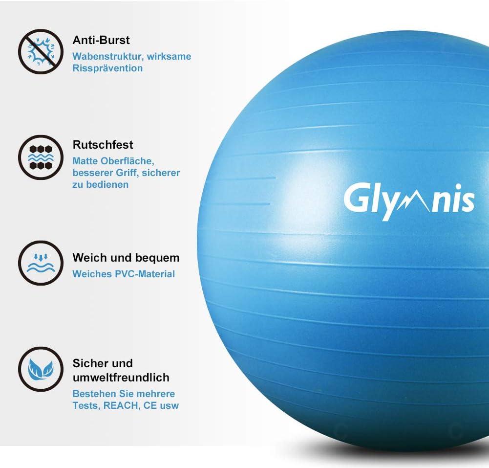 75 cm platzsicher Schwangerschaft f/ür Yoga Rumpfst/ärkung einfach aufzublasen Fitnessball mit Luft-Fu/ßpumpe Geburt Pilates /Übungsb/älle 55 extra dick