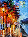 "This beautiful art work by Leonid Afremov called ""Love by the lake"" depicts a couple of lovers taking a quiet walk along the lake shore. They all alone and the entire park, with its rain-soaked alleys, solemn bare trees and romantic lanterns, belongs..."