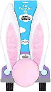 Amscan Bunny Ears and Nose Plush Car Character Decor Kit, Multi Sizes, Pink