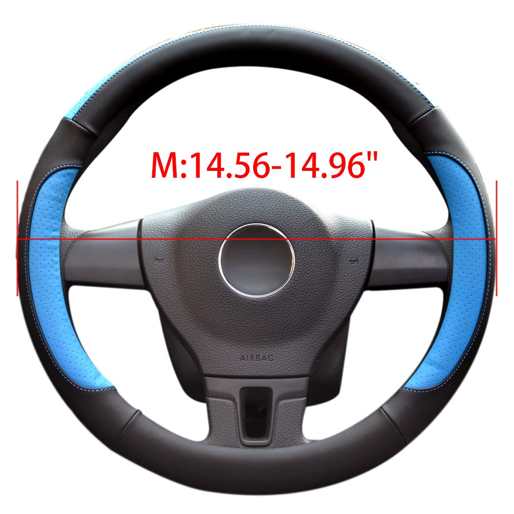 LucaSng Car Steering Wheel Cover,Diameter 15 inch,PU Leather,for Full Seasons,black and blue,Size M