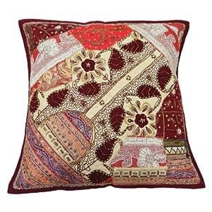 funda de almohada de color rojo mosaico funda de cojín bordado tradicional 48 cm tiro regalo indio 19 x 19 pulgadas