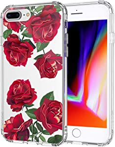 MOSNOVO Case for iPhone 8 Plus, Red Roses Floral Flower Women Girls Clear Design Transparent Plastic Hard Back Case with TPU Bumper Protective Case Cover for iPhone 7 Plus