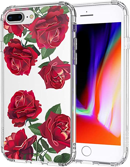 MOSNOVO Case for iPhone 8 Plus, Red Roses Floral Flower Women Girls Clear Design Transparent Plastic Hard Back Case with TPU Bumper Protective Case ...