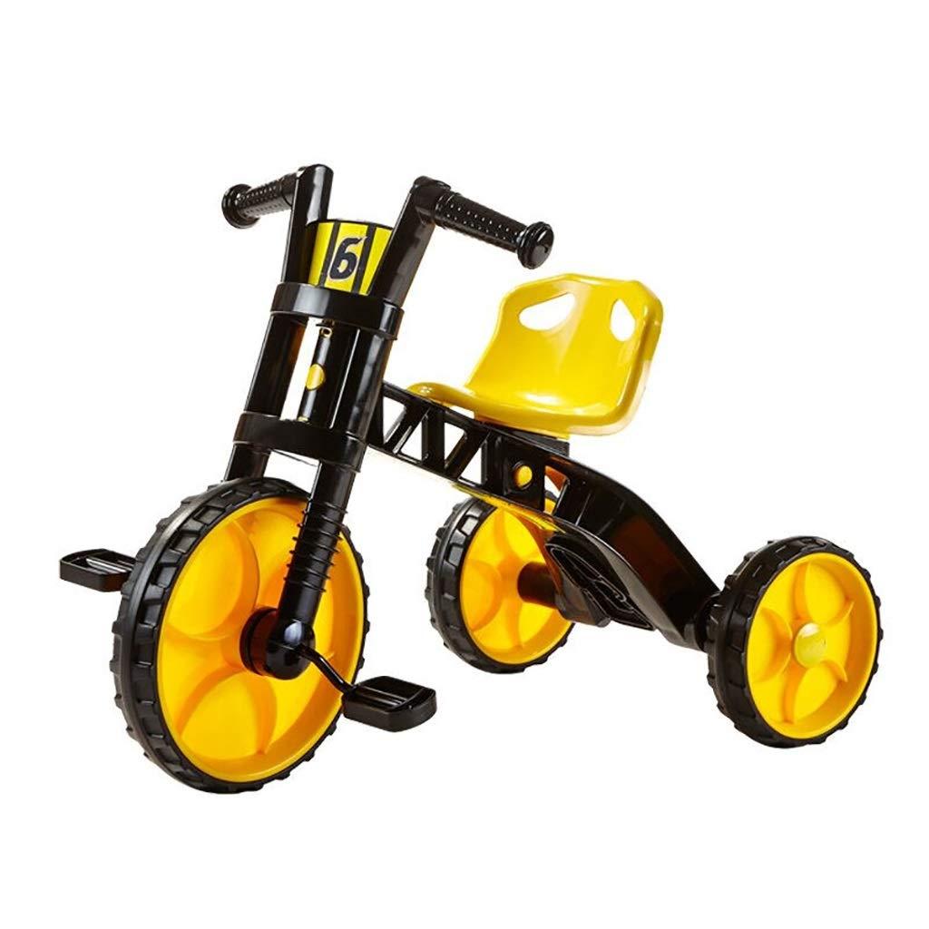 NBgy Tricycle, Tricycle Multi-Fonctions pour Enfants à Siège Réglable, Double Usage, Tricycle Extérieur Bébé De 2 à 5 Ans, Jaune, 76.5x46x56cm
