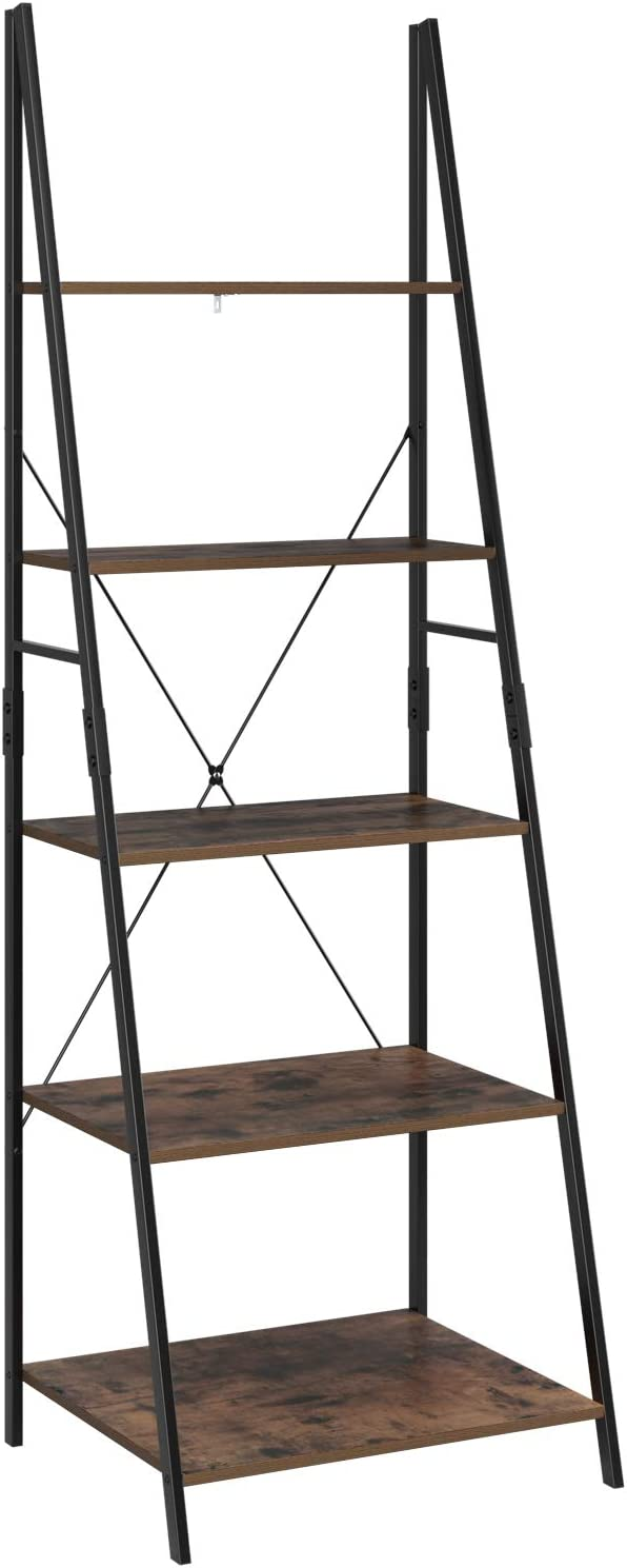 Homfa Ladder Shelf 5 Tier Leaning Bookcase Industrial Bookshelf Storage Shelving Unit 60x50.3x180.5cm