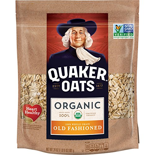 Quaker Organic Old Fashioned Oatmeal, Breakfast Cereal, Non-GMO Project Verified, 24 Ounce Resealable Bags (Pack of 4)