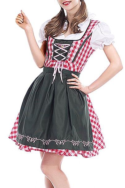 BOZEVON Mujer Uniforme Vestido de Oktoberfest Traje Tradicional de Baviera Disfraz Cosplay para Halloween Carnaval Bar