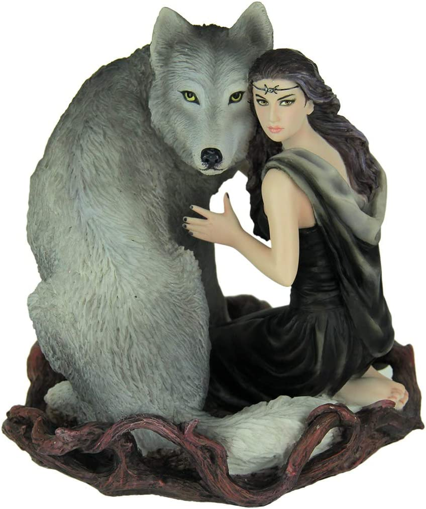 Veronese Design Resin Statues Anne Stokes Soul Bond Hand Painted Statue 5 X 5.75 X 5 Inches Gray