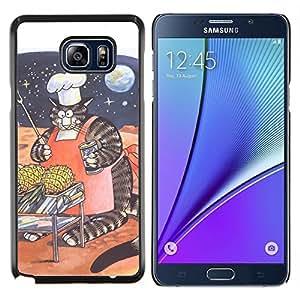 YiPhone /// Prima de resorte delgada de la cubierta del caso de Shell Armor - Enorme gato Espacio Arte divertidas rayas gordas - Samsung Galaxy Note 5 5th N9200