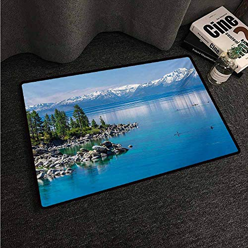 HCCJLCKS Fashion Door mat Landscape Blue Waters of Lake Tahoe Snowy Mountains Pine Trees Rocks Relax Shore Super Absorbent mud W24 xL35 Pale Blue Green Grey