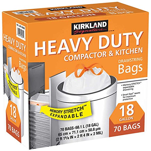 "Kirkland Signature Made in USA Heavy Duty Compactor & Kitchen Drawstring Bags,18 Gallon, 70 ct ,Thickness: 2.0 mil ,Dimensions: 25.625"" x 28"""