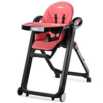 Heao Foldable High Chair Reclining Height Adjustable 4 Wheels Pink