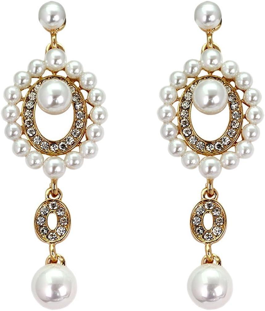 Yazilind perlas de imitación diamantes de imitación pendientes huecos chapado en oro zirconia topacio blanco colgantes pendientes de gota