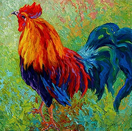 amazon com y j art band of gold rooster modern canvas wall art for