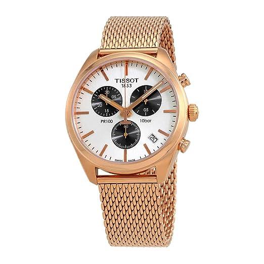 Reloj Tissot PR 100 de hombre, dorado en oro rosa con cronógrafo y malla, ref. T1014173303101.: Amazon.es: Relojes