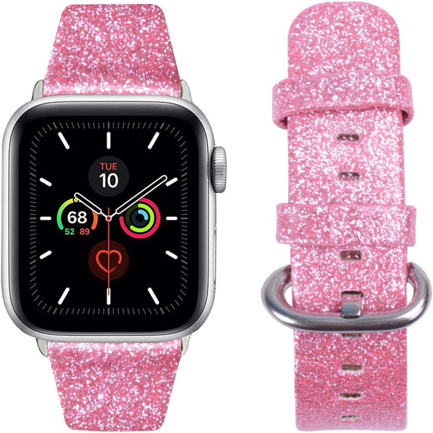 baozai Compatible with Apple Watch Band 42mm 44mm, Smooth Soft Glitter Shiny Leather Band Replacement Bracelets for Apple Watch Series 6 Series 5 Series 4 Series 3 Series 2 Series 1 SE(Pink)
