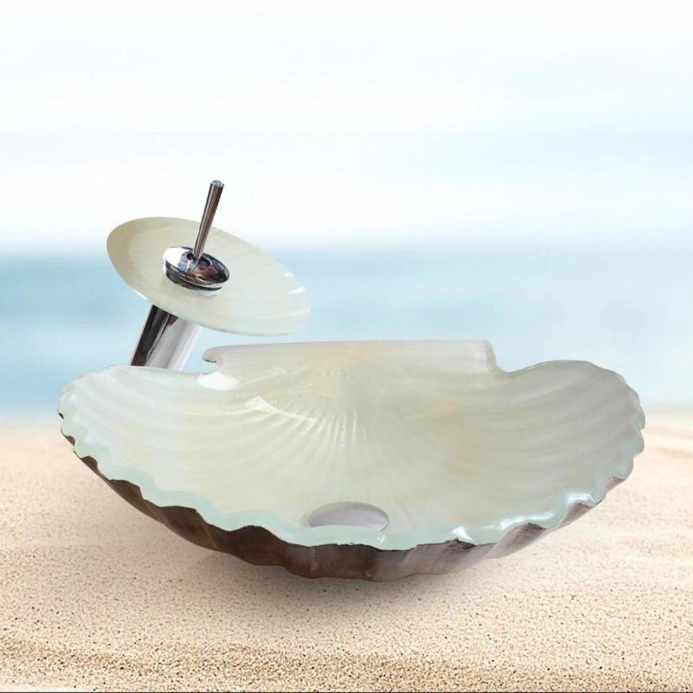 CAO Conchiglie a forma di vasca da bagno contemporanea Tainted Sink di vetro Imposta DAHEHENG