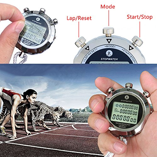 LAOPAO Stopwatch,1/10 Second 10 Memories, Clock Daily Rainproof Digital Timer for Sports Match,Competition,Coach,Referee,Training,Timing