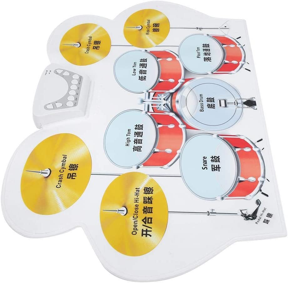 Bnineteenteam Conjunto de bater/ía Digital port/átil Kit de bater/ía Enrollable de Silicona Kit de bater/ía electr/ónica con 2 Baquetas Pedal de 2 pies Cable USB Conector para Auriculares