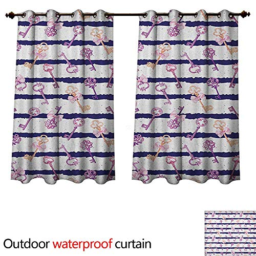 - Anshesix Girls Outdoor Balcony Privacy Curtain Old Medieval Vintage Keys with Ribbons and Diamonds Striped Pattern in French Style W72 x L63(183cm x 160cm)