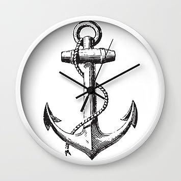 Amazon Society6 Anchor Navy Symbol Wall Clock White Frame