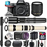 Holiday Saving Bundle for D610 DSLR Camera + 18-140mm VR Lens + 650-1300mm Telephoto Lens + 500mm Telephoto Lens + 2yr Extended Warranty + 32GB Class 10 Memory + Battery - International Version