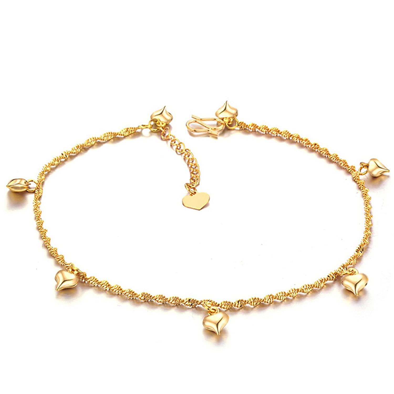 Marrymi Buy one get one(Check Features&Details) Women Anklet Bracelet Chain 18k Gold Plated Copper Adjustable Bells Pendant